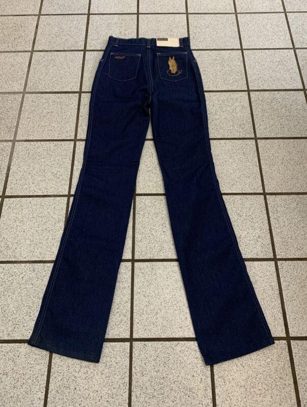 Vintage Girls Jeans Western Disco 27 X 31 Horse Dark Straight 1970s NEW 18 Slim