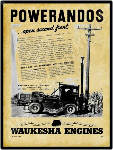 1942 Waukesha Motors New Metal Sign: Powerandos - Generator Trucks 4 World War 2