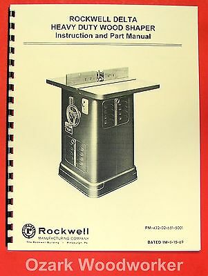 Rockwell Older Heavy Duty Wood Shaper 43-205 1340 Operator Parts Manual 0616