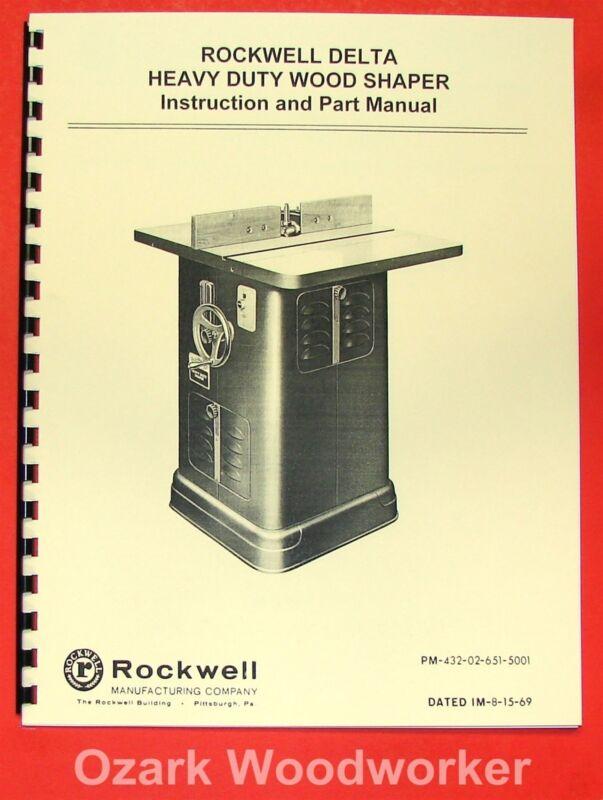 ROCKWELL Older Heavy Duty Wood Shaper 43-205 & 1340 Operator & Parts Manual 0616