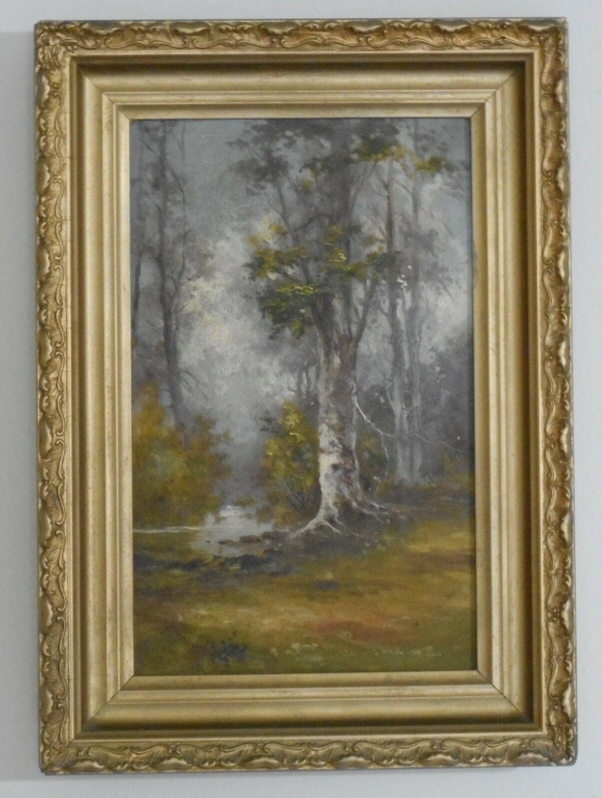 19th C American Impressionist Plein Air Oil On Board Birch Tree Forest Landscape - $95.00
