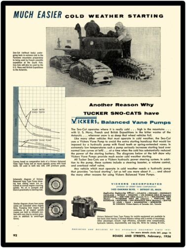 1956 Vickers Vane Pumps New Metal Sign: Features Tucker Sno-Cat Prominently