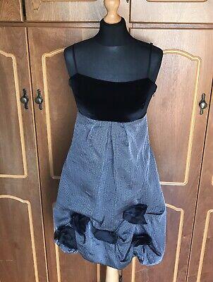 Vintage Black Grey Dress Sz L 12 Rinascimento Steampunk Goth Evening Party 1990s