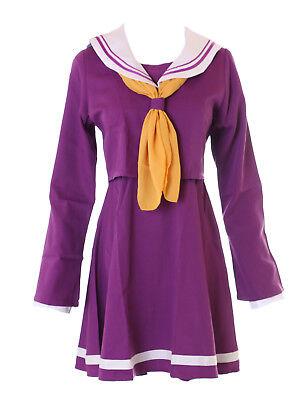 MN-30 No Game No Life Shiro lila Schuluniform Schooluniform Cosplay Set (Shiro Cosplay Kostüm)