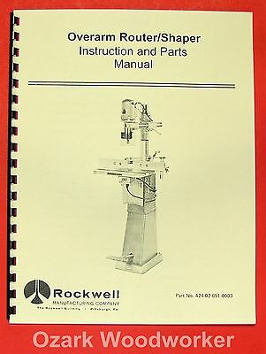 Rockwell Overarm Routershaper Operating Parts Manual 0617