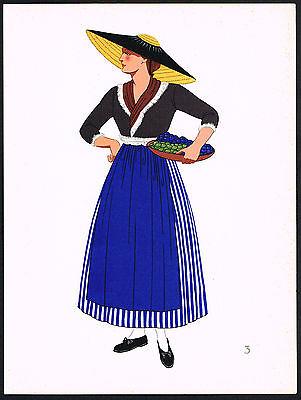 1930s Vintage Hitzendorf Styria Austrian Europe Woman Clothing Pochoir Art Print