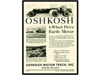 Boston 1937 Oshkosh Motor Truck Company New Metal Sign 4WD Earth Mover Shown