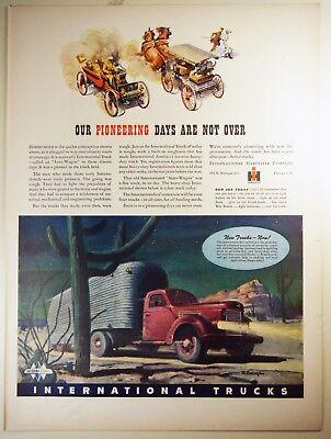 Vintage 1944 INTERNATIONAL HARVESTER TRUCKS Lg Magazine Print Ad: WWII