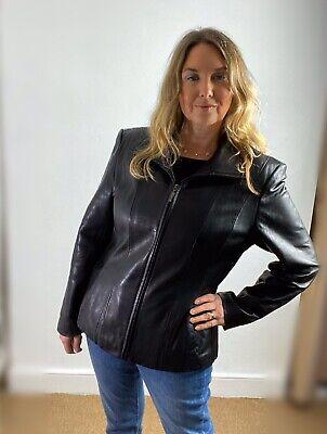Jones New York Black Leather Zip Front Funnel Neck Jacket L
