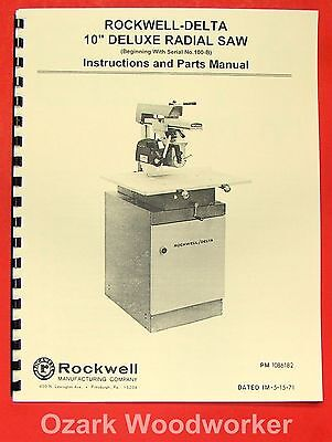 Rockwell-delta 10 Deluxe Radial Arm Saw Owners Parts Manual 0801