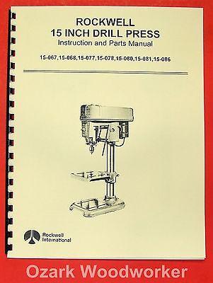 Rockwell 15 Drill Press Model Operator Part Manual 0598