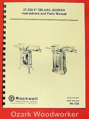 Rockwell 37-220 6 Deluxe Jointer Parts Manual 0605