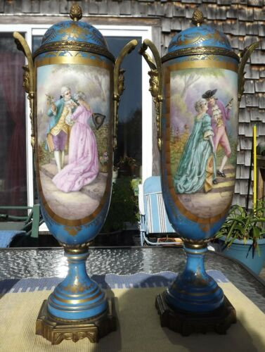 GORGEOUS PAIR OF ANTIQUE SEVRES PORCELAIN COVERED URNS,  1771