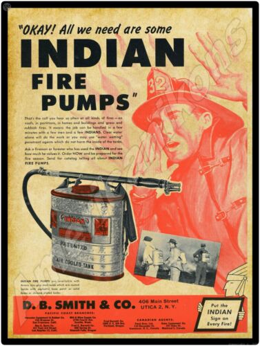 1949 D.B. Smith & Co. New Metal Sign: Indian Fire Pumps - Utica, New York