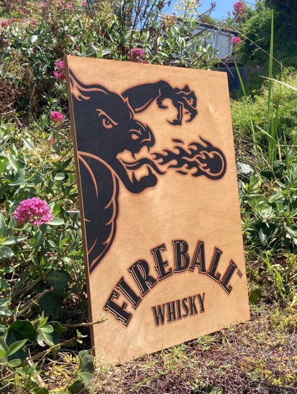 Fireball whiskey Beer Bar Pub Man Cave Wood Sign  Mirror