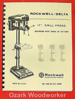 Rockwell-delta 17 Drill Press Operators Parts Manual 0639