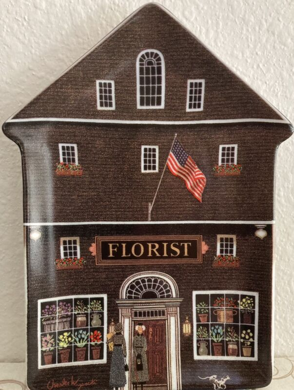 THE TOWN FLORIST Plate WYSOCKI FOLKTOWN #4 18552A Bradford Exchange 1996