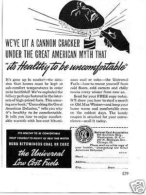 1940 National Coal Association Burn Bituminous Coal Print Ad
