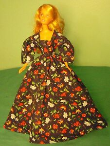 Dark-Navy-Gown-with-Floral-Print-for-Teen-Skipper-Barbie-Doll-TSBD03