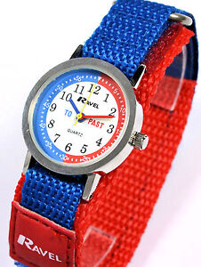 Ravel Boys Young Childs Blue Red Time Teacher Watch, Velcro Strap Free UK P&P