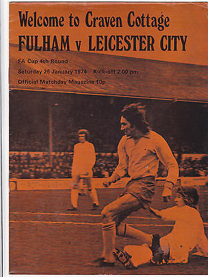 FULHAM  V LEICESTER CITY FA CUP 26/1/74