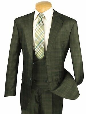 Vinci Men's Olive Green Glen Plaid 3 Piece 2 Button Classic Fit Suit (3 Piece Mens Suits)