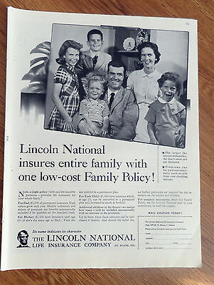 1958 Lincoln National Life Insurance Ad Insures Entire Family With One Policy