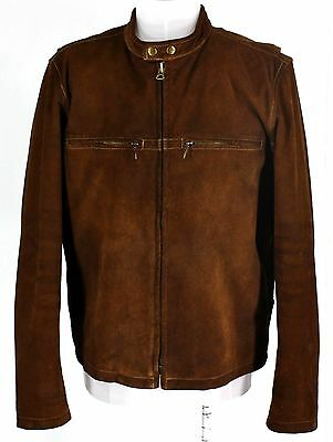 Men's J. CREW Brown Leather Motorcycle Jacket Size M