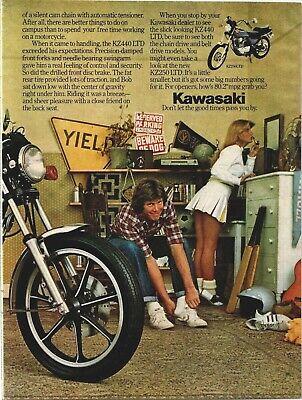 Sexy Cheerleader Kawasaki Motorcycle KZ440LTD 2 Page 1980 Vintage Print Ad