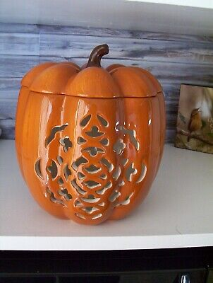 Quite Large Ceramic Pumpkin Cookie Jar ? Candle Holder ? Cutout Fall Halloween