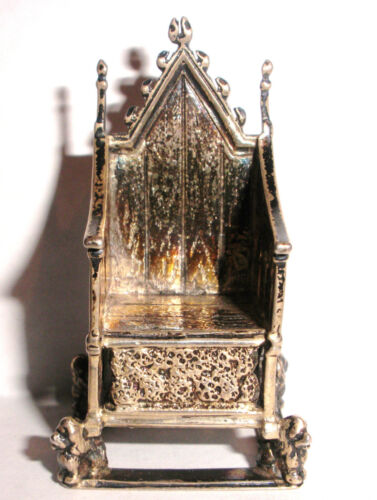 Antique English Sterling Silver miniature Chair Throne doll house Saunders