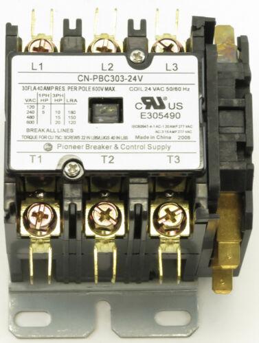 CN-PBC303-24V-11 DEFINITE PURPOSE CONTACTOR 30AMP 3POLE 24V COIL 30/40 FLA RES