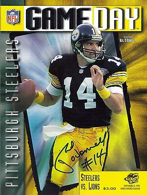 Pittsburgh Steelers NEIL O'DONNELL autograph signed program 9/3/95 vs Lions auto