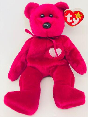 Valentines Day Bear Stuffed Plush Dark Pink Beanie Baby Valentina Present Animal
