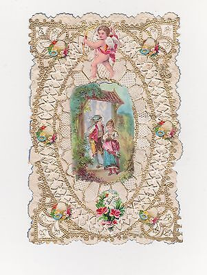 VICTORIAN VALENTINES CARD, CUPID, BOY AND GIRL UNDER A LYCH-GATE,  C'1880'S
