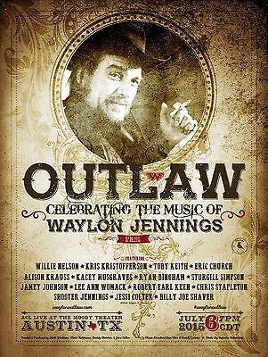 "WAYLON JENNINGS ""OUTLAW CELEBRATING THE MUSIC OF""2015 AUSTIN CONCERT TOUR POSTER"