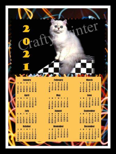 2021 CAT CALENDAR MAGNET - WHITE PERSIAN #2