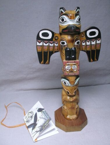 "Hand Carved 9.5"" Signed Patrick Seale Alaska Black Diamond Wood Totem Carving"
