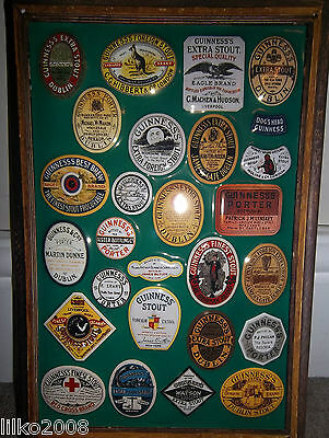GUINNESS old bottle labels: EMBOSSED METAL ADVERTISING SIGN 30X20cm, IRISH BAR
