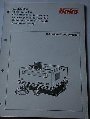 Ersatzteilliste Hako Jonas 1800D 6319 Original Druck Hako Hausdruckerei