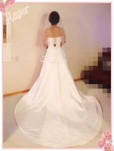 Elegant long tailed wedding gown