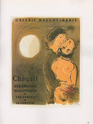 """1989 VINTAGE """"CHAGALL CERAMIQUES SCULPTURES MOURLOT MINI POSTER COLOR Lithograph"""