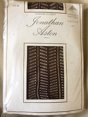 Jonathan Aston herringbone tights. Size A. Colour chocolate. New in packet.