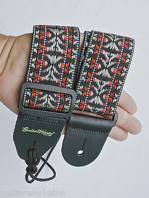 GUITAR STRAP BLACK RED SILVER WOVEN NYLON FOR ACOUSTIC & ELECTRIC MADE IN U.S.A.