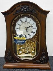 WSM - CRH165NR06 MANTEL CLOCK CHELSEA BY RHYTHM (WOODEN CASE WITH CRYSTALS)