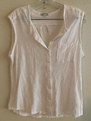 JAMES PERSE White Sleeveless T-Shirt Top Womens Size 2 #719