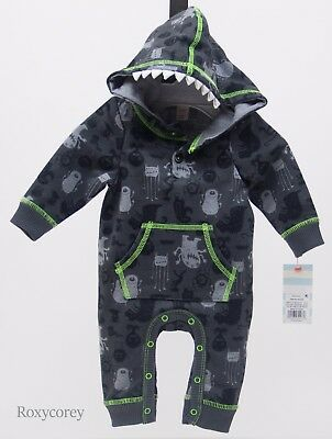 Halloween Cat & Jack Baby Monster Hooded Long Sleeve Romper Size 6-9 months - Infant 6-9 Month Halloween Costumes