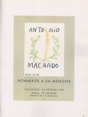 "1989 VINTAGE ""HOMMAGE MEMOIRE ANTONIO MACHADO"" PICASSO COLOR offset Lithograph"
