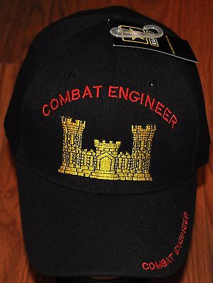 New Black Combat Engineer US Army Hat Ball Cap Veteran Military