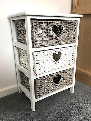Grey White Storage Cabinet Bathroom Wicker Baskets Nightstand Shabby Chic Drawer Dining Room Wicker Cabinet